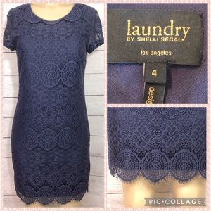Laundry by Shelly Segal Navy Floral Lace Dress 4